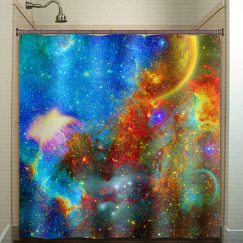 Rainbow Nebula Planet Outer Space shower curtain bathroom decor fabric kids bath white black custom duvet cover rug mat window