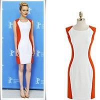 SEXY COLORBLOCK PANEL SLIMMING DRESS