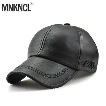 Trendy Winter Jacket 2018 New Fashion High Quality Leather Baseball Cap For Men Casual Moto Snapback Hat Men Women Hat Cap  AT_92_12