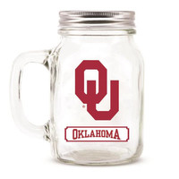 Oklahoma Sooners NCAA Mason Jar Glass With Lid