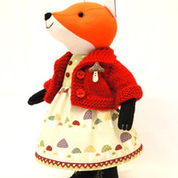 Orange Fox, plush toy, stuffed animal doll 10 inches (25cm) cotton. Red hand knitted jacket and  mushroom cotton dress .