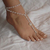 1x Fashion Barefoot Sandal Bridal Beach Pearl Foot Jewelry Anklet Chain Bracelet = 5658248193