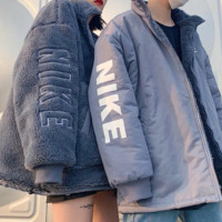 NIKE winter new 3D three-dimensional printing embroidery logo couple models two sides wearing jacket cotton coat