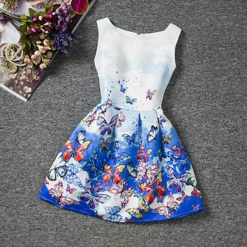 Summer Casual Girl Flower Dress Wedding Party For 12 Years Age Girls Children Printed Butterfly Pattern Baptism Dress