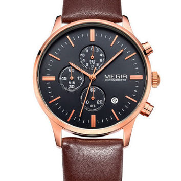Megir Quartz Chrono (Brown, Gold)