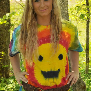 Rainbow Smiley Face Tie Dye T-Shirt (Made By Hippies Tie Dye In Stock in Sizes Small to 4XL) (Fruit of the Loom) (On Sale)