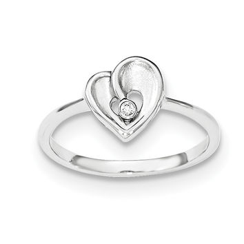 Sterling Silver Polished & Sandblast CZ Heart Ring