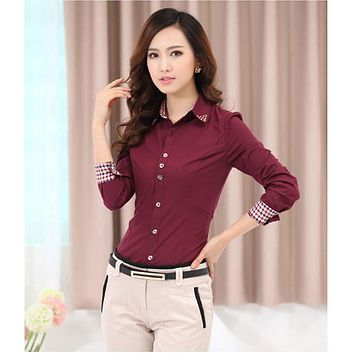 Women Tops Fashion 2015 Cardigan Blouse Plus Large Size S-6XL Beaded Diamond Women Shirt OL Business Attire blusa feminina AE106