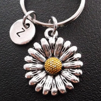 Sunflower keychain, keyring, bag charm, purse charm, monogram personalized custom gifts under 10 item No.256