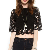 Black Half Sleeve Lace Crop Top