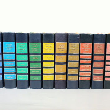 SALE /// rainbow book collection // vintage Readers Digest books // colorful pattern hardcover book decor