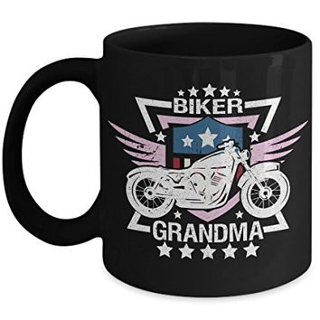Biker Grandma 11oz Black Coffee Mug - Motorcycle and Wings