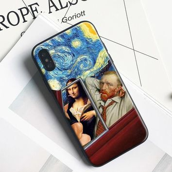 mona lisa Van gogh Starry sky Kuso funny Pattern Soft Silicone Tpu Phone Case Shell For Apple iPhone 5 5s SE 6 6s 7 8 Plus X 10