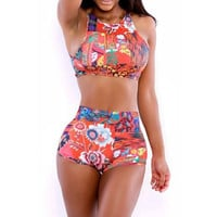 Beach Swimsuit Hot New Arrival Summer Vintage Print Round-neck Sleeveless High Rise Sexy Casual Swimwear Bikini [6532535367]