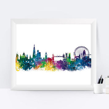 London Print Watercolor Poster England London Skyline Travel City Print Cityscape Wall Art London Art Print Gift