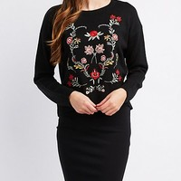 Floral Embroidered Knit Sweater | Charlotte Russe