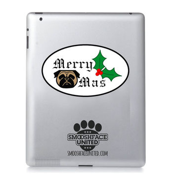 Merry Pugmas decal! A holiday pug gift or a great seasonal sticker touch for the car or ipad - also available in a pug stamp