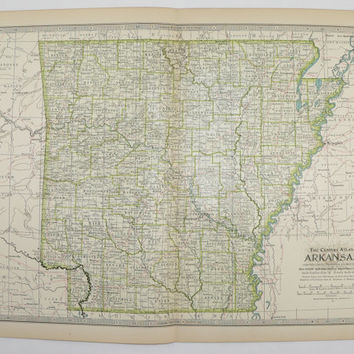 Arkansas Map 1899 Southern State Travel Map Gift Idea for Wedding Map Prop Vintage Wall Map Home Decor Wall Art United States Geography Gift