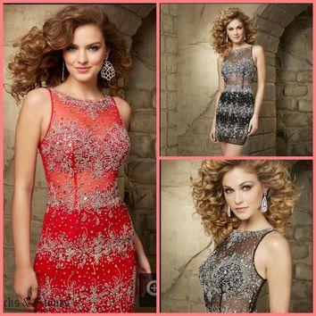 2015 winter amazing little red mermaid beading short mini cocktail dresses scoop neckline petite crystals sparkly cocktail gown