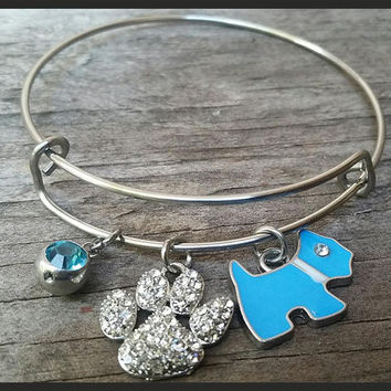 Dog Lover Bracelet, Dog Lover Gift, Veterinarian Gift, Dog Lover Jewelry, Paw Bracelet, Dog Charms, I Love My Dog, Animal Lover Gift,