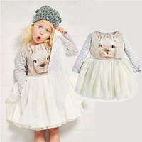 Hot Sale 2015 Spring Girls Bunny Dresses Girls Stripped TUTU kids Clothes Children clothing Printed Rabbit Princess Dress Baby Clothes.