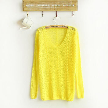 Free shipping New Candy Color Small Twist V-neck Long-sleeved Hollow Smock Women Sweater
