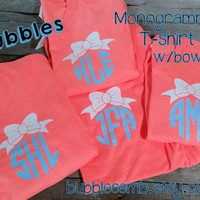 Retro Heather t Shirt with Monogram and Bow Vinyl Coral Green Royal