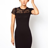Ted Baker | Ted Baker Knitted Dress with Lace Yoke and Sleeves at ASOS