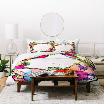 CayenaBlanca Floral Frame Duvet Cover