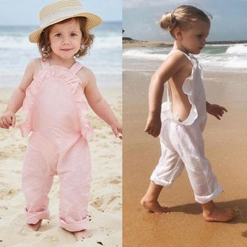 US Summer Baby Girls Ruffle Overalls Romper Jumpsuit Clothes Outfit Toddler 0-4T