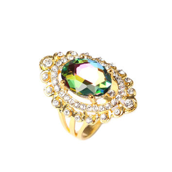 8 Fashion Snap Rainbow Colorful Glass Engagement Ring Geometric Gold Plated Plated Alloy Rings For Women Gifts
