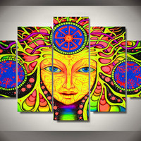 5 Pcs No Framed Printed psychedelic mandala buddha abstract Painting on canvas room decoration print poster picture canvas