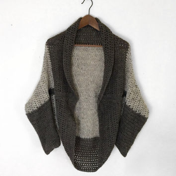 Crochet Shrug / Cardigan Wool Two Toned Charitable Donation to a Non-profit Organization