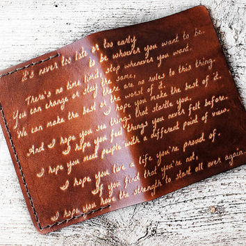 Leather Passport Cover Inspirational Quote - OOAK F Scott Fitzgerald Quote - Benjamin Button Inspirational Quote Graduation Gift Travel Gift