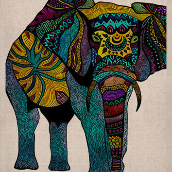 """Kess Naturals Burlap Canvas Multicolored & Teal """"Elephant of Namibia"""" Fall Print Artwork by Pom Graphic Design (Frame not Included)"""