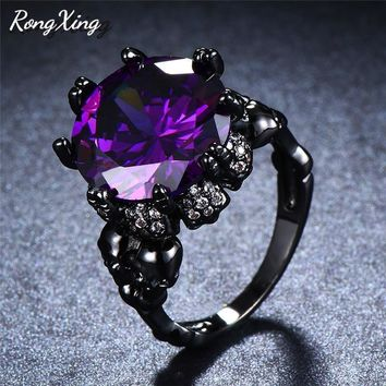 RongXing Stylish Big Stone Skull Rings For Women Men Black Gold Filled Round Zircon Purple/Red Birthstone Skeleton Biker Ring
