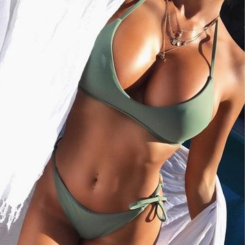 Hirigin Women Bikinis Set Women Swimwear Push Up Paded Bra Women Swimsuits Bandage Army Green Bikinis Bathing Suits First Grade