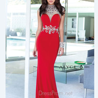 High Neckline With Cap Sleeves Formal Prom Gown By Alyce Paris 6393