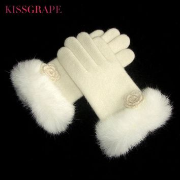 Brand 2017 Winter Women's Warm Wool Knitted GLoves with Real Fur Ladies Elegant White Gloves Double Layer Female Thick Mittens
