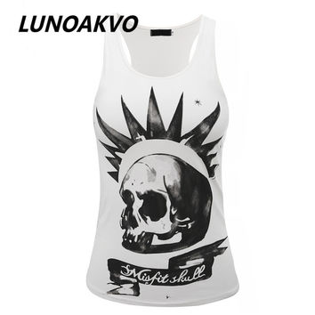 Harajuku Women Misfit Skull Tank Top Sleeveless T-shirt 2016 New Free Shipping