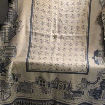 Christmas village scene 100% cotton tapestry throw blanket throw in blue and white