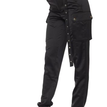 Satin Cargo Pants - Black