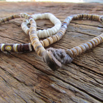 CLEARANCE!!!Natural Rondelle Heishi Coconut Bead Necklace and Bracelet, White, Warm Brown, Heishi Shell Bracelet,Beach Bracelet and Necklace