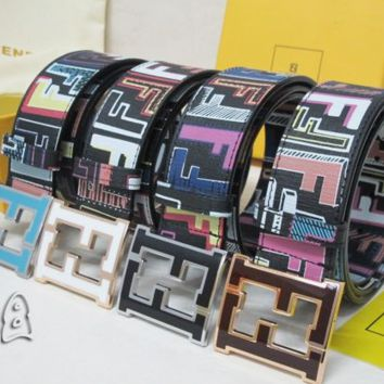 FENDI Classic Fashion Woman Double F Smooth Buckle Belt Leather Belt