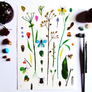 Plant Still Life Insect Watercolor Painting Gouache Drawing Contemporary Art Decor Wall Art Botanical Butterfly Green Flowers Fruits Art