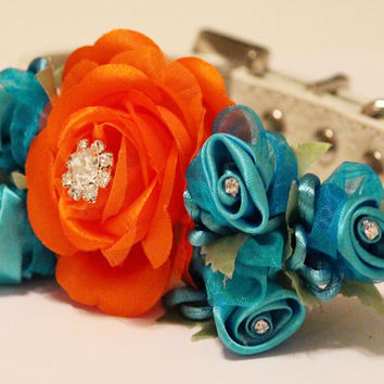 Blue Orange Wedding Dog Collar, Wedding Dog Accessory, floral pet wedding