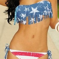 Usa flag fringe padded bandeau bikini 2 piecs bathing suits from alanchen