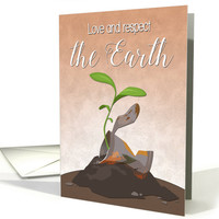 Discarded Food Can with Plant Growing for Earth Day card