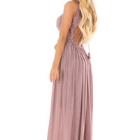 Lilac Sleeveless Open Back Maxi Dress with Lace Accents