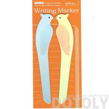 Long Parrot Parakeet Bird Shaped Animal Themed Post-it Memo Marker Pad Bookmark Tabs